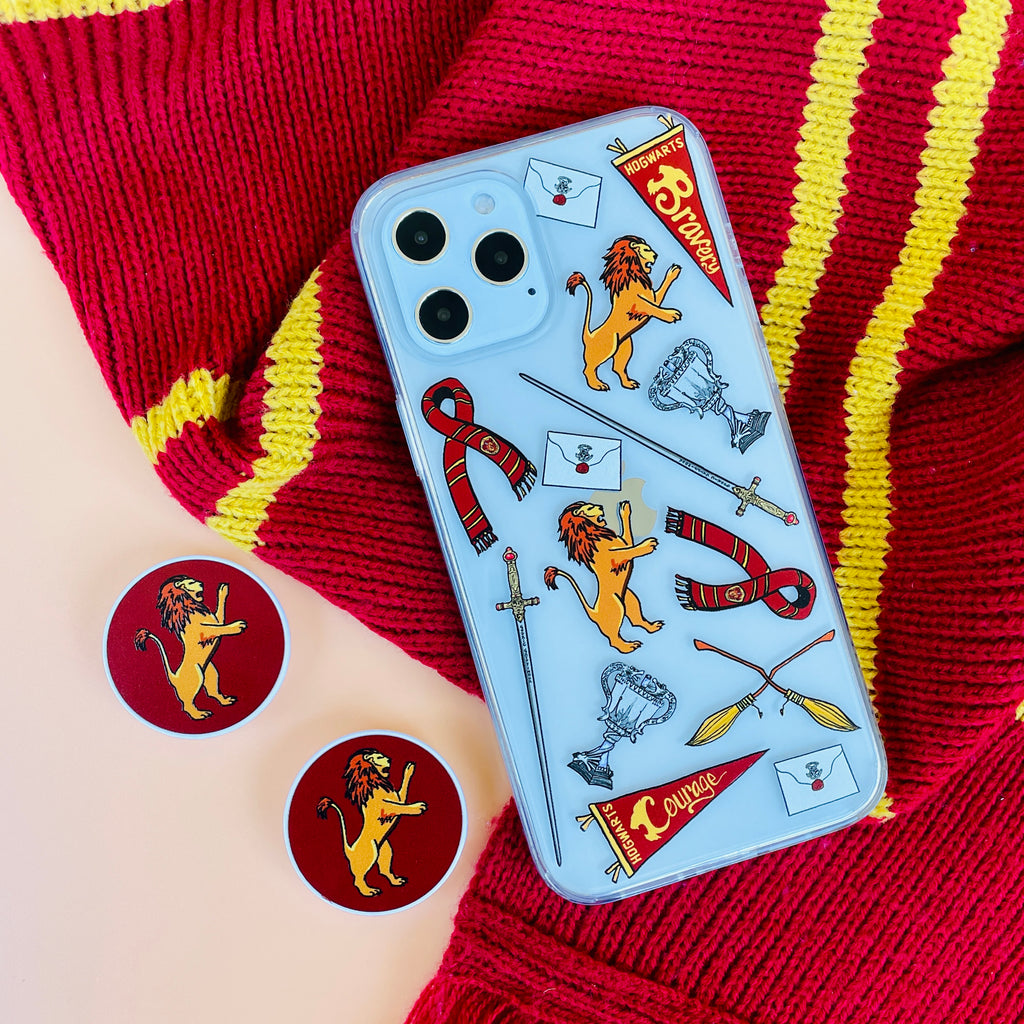 Brave and Courageous Gryffindor House Phone Case and Phone Pop Grip Socket