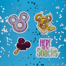Load image into Gallery viewer, Here for the Snacks Sticker Pack with Mickey Donut, Mickey Pretzel, Mickey Ice Cream Bar