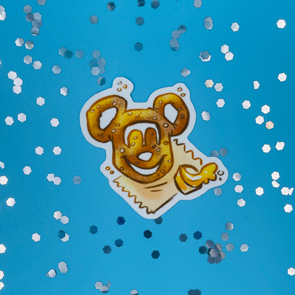 Here for the Snacks Mickey Pretzel Sticker