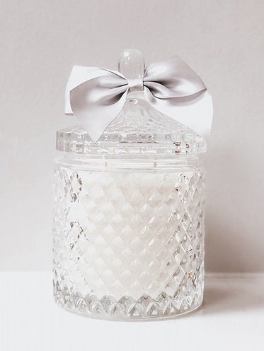 Large Clear Three Wick French Top Geo Candle