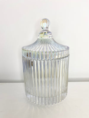 Large Pearlescent Ribbed Geo Candle