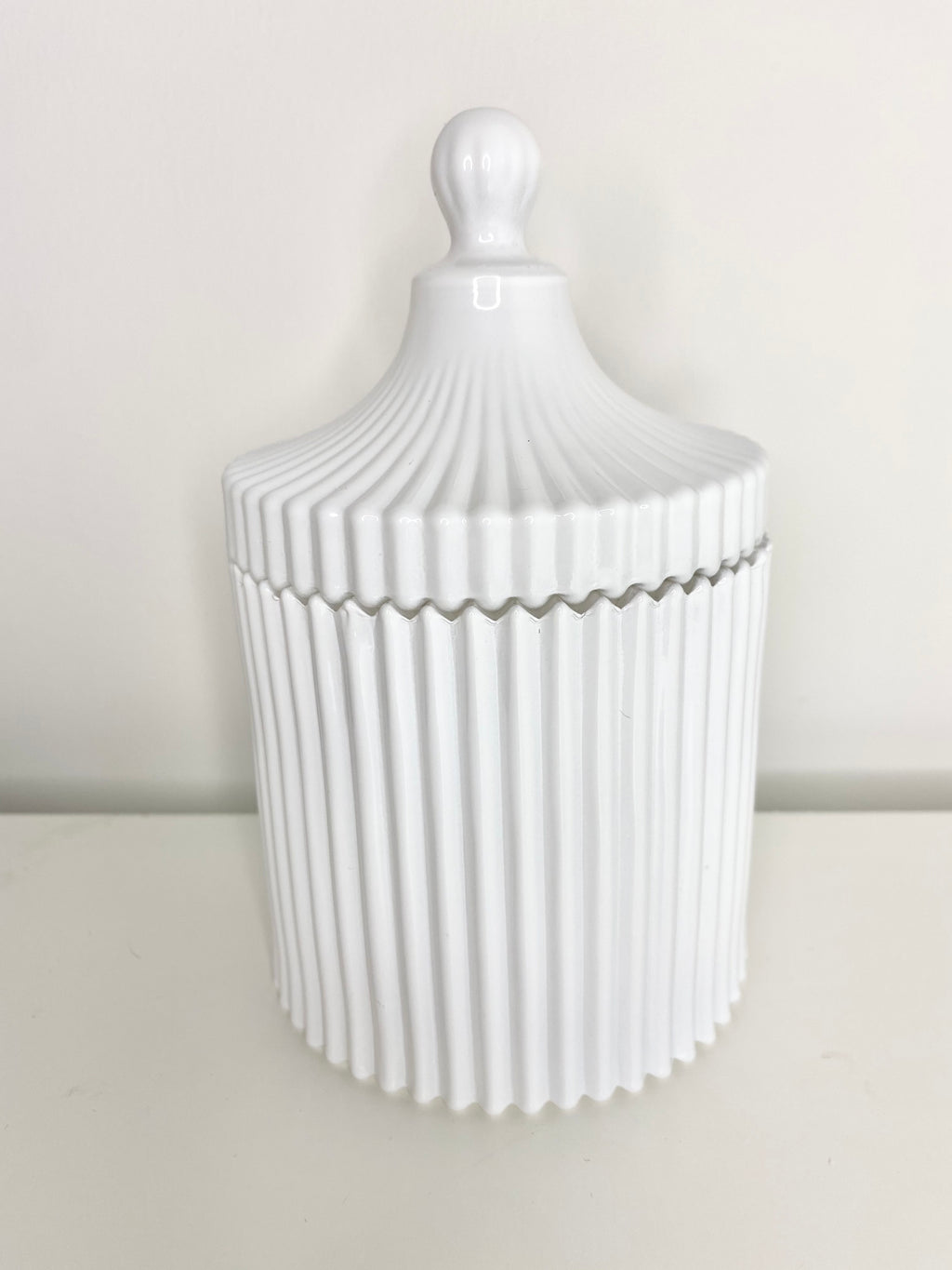 Large White Ribbed Geo Candle