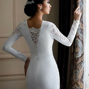 White/Ivory Long Sleeve Lace Elegant Wedding Dress - DressMaid Store
