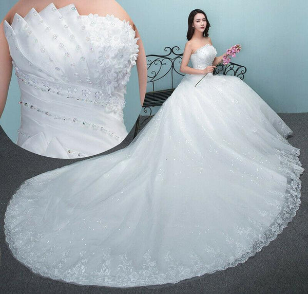 New White Lace Sexy Off Shoulder Wedding Dress with Long Tail - DressMaid Store
