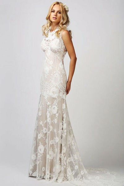 O-Neck Nude Color Sleeveless Lace Wedding Dress - DressMaid Store