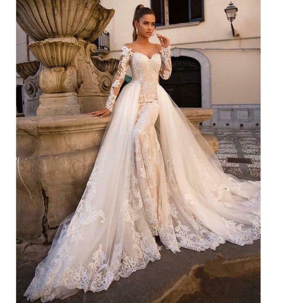 New Style Size/Color French Lace Plus Size Long Sleeve Bridal Wedding Dress - DressMaid Store