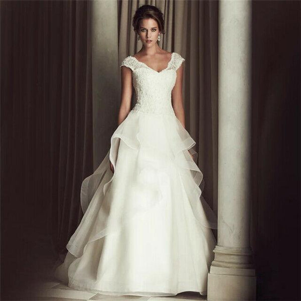 Floor-Length Strapless Lace Wedding Dresses - DressMaid Store