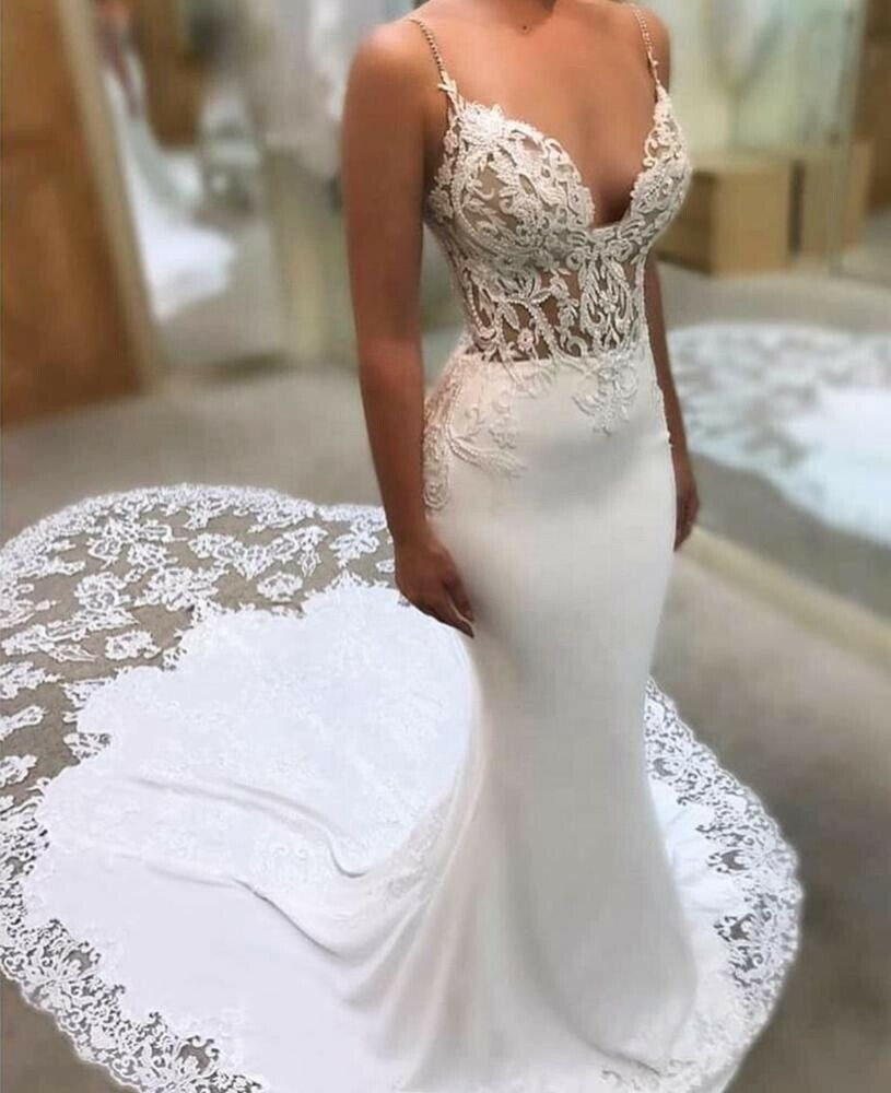 Sexy Mermaid V Neck Lace Wedding Dress - DressMaid Store