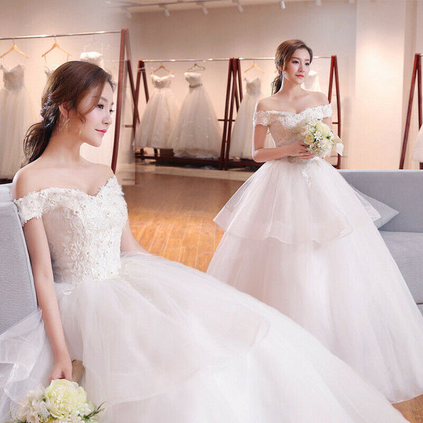 Stylish Lace flower Ball Gown Wedding Dress Bridal Gown - DressMaid Store
