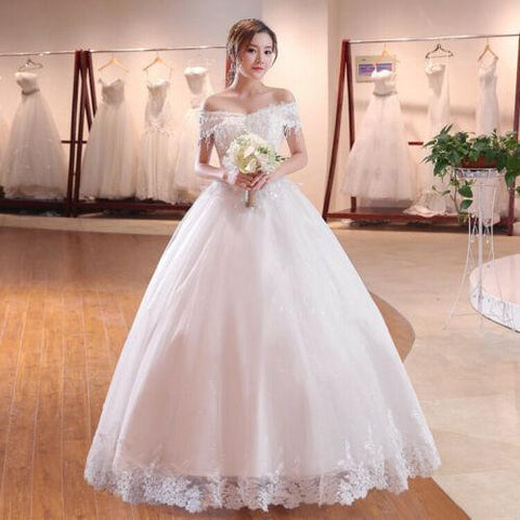 Elegant Style Lace Off Shoulder White Wedding Dress