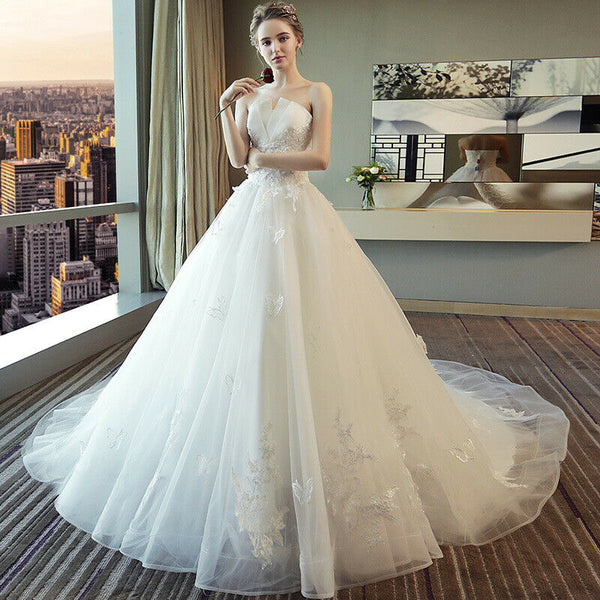 Stylish White V-Neck Lace Sleeveless Wedding Dress - DressMaid Store