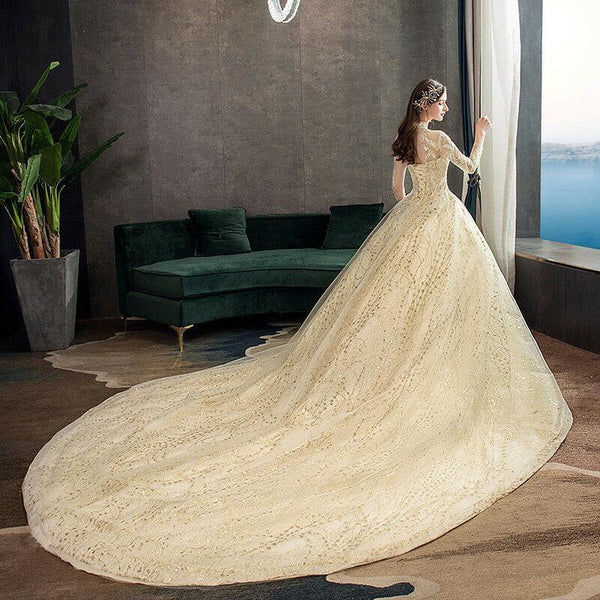 Gold Lace Muslim With Big Tail Wedding Dress