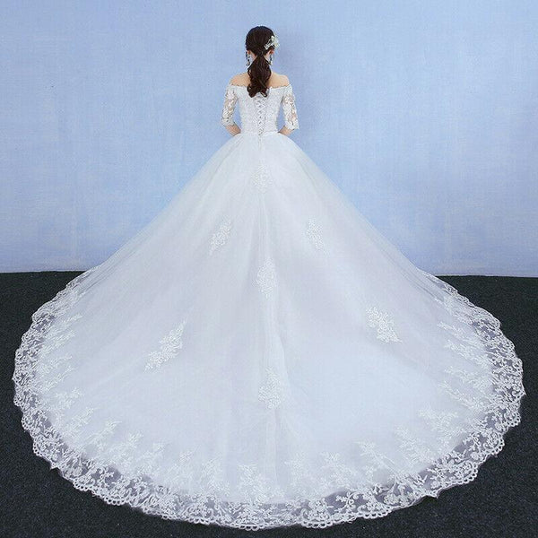 Off Shoulder Short Sleeve V neck Slimming Long Tail Ivory Lace Wedding Gown - DressMaid Store