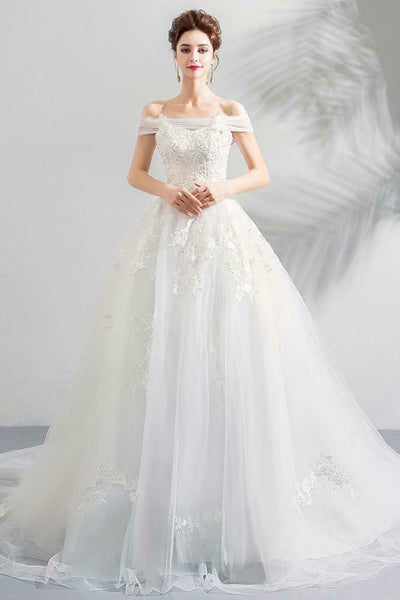 Beaded Lace Flat Shoulder Long Tail White Wedding Dress