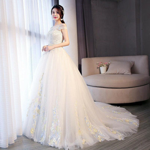 Luxury Off Shoulder Color flower Low back Chapel Train Wedding Gown - DressMaid Store