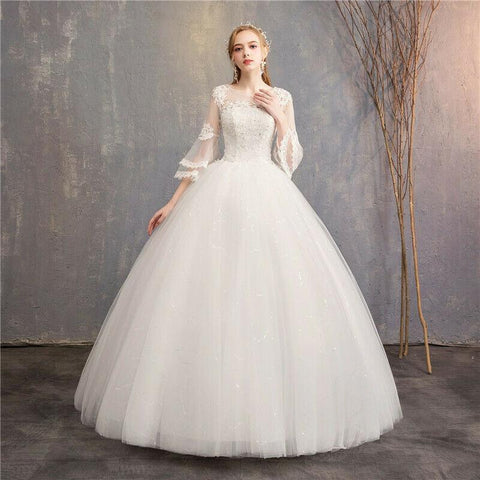 Simple O-neck Half Bell Sleeve Beaded Lace Wedding Dress