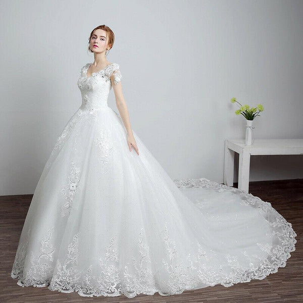 Lace Up back White Long Train Bridal Wedding Gown Dress - DressMaid Store