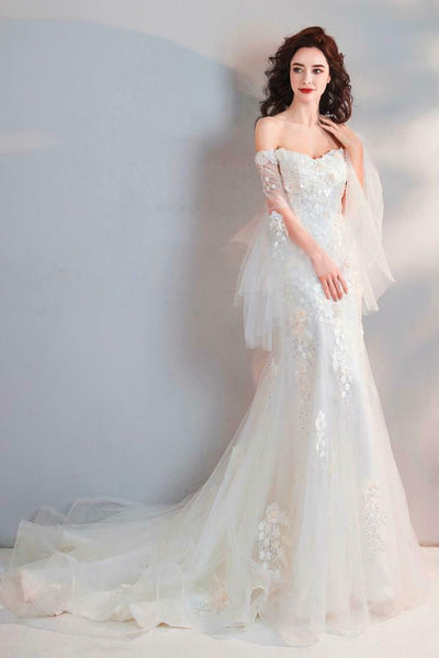 Embroidery Off shoulder FishTail Princess Wedding Dress