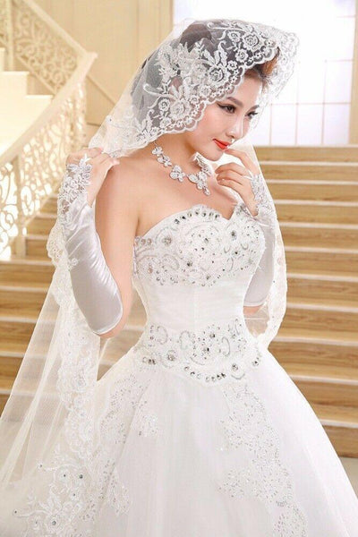 Off-the-shoulder Bridal Women's Appliques Lace A-line Long Train Wedding Dress - DressMaid Store