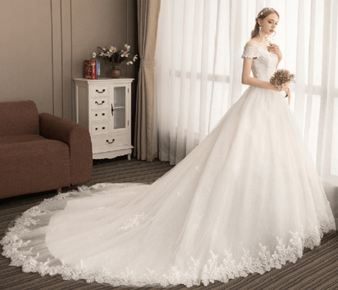 Aristocratic A-Line Lace Trailing Wedding Dress | DreamMaid Store