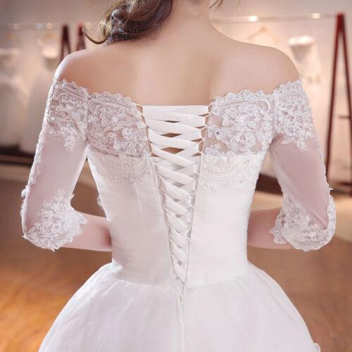 Off Shoulder Ball Gown Wedding Dress Half Sleeve Bridal Gown with Long Train - DressMaid Store