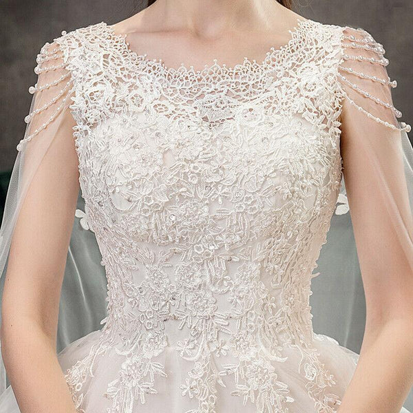 Crystal Beaded Luxury Wedding Dress with Long Train
