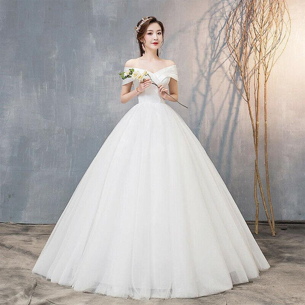 Off The Shoulder Boat Neck Simple Satin Wedding Dress Plus Size Lace Up - DressMaid Store