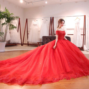 Traditional Beaded Lace Flower Red Ball Gown Wedding Dress with Long Train - DressMaid Store