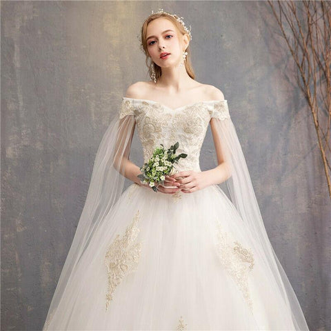 Crystals Lace Up Champagne with Cape Sleeve Wedding Dress
