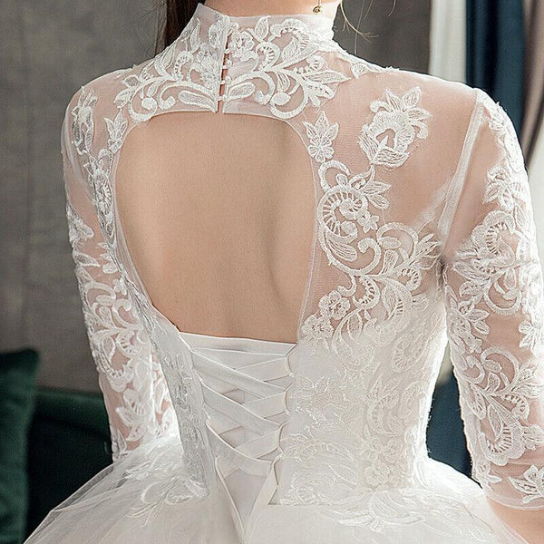High Neck Vintage Lace Embroidery Wedding Dress
