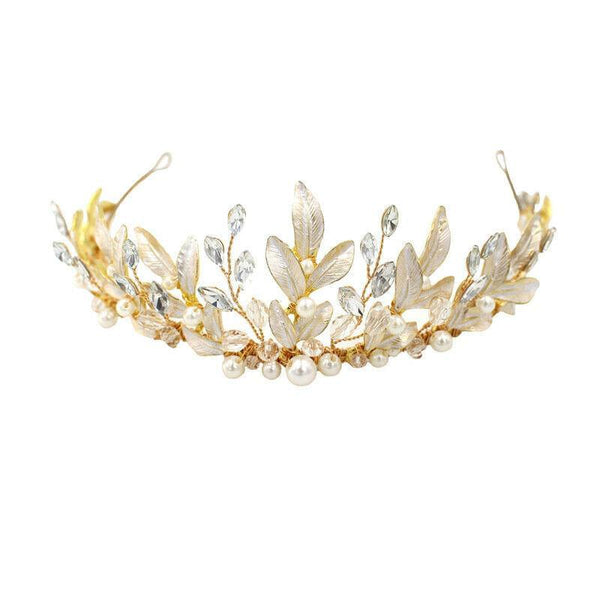 Crystal Leaf Hair Accessories Wedding Queen Crown