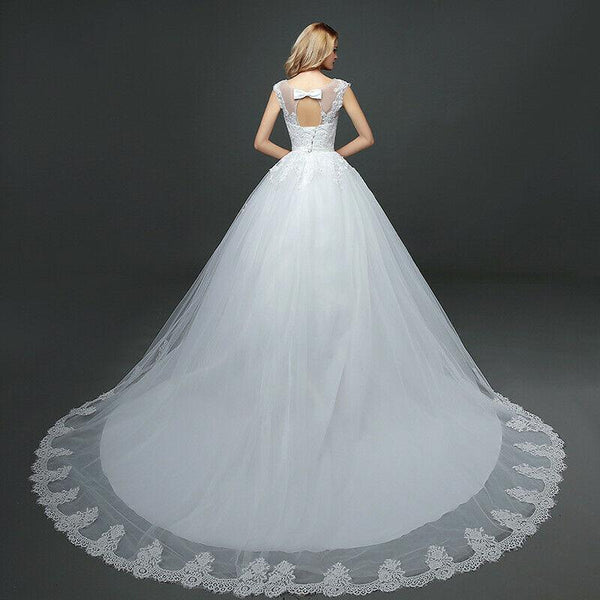 Double Shoulder Long Train Vintage Lace Up Wedding Gown