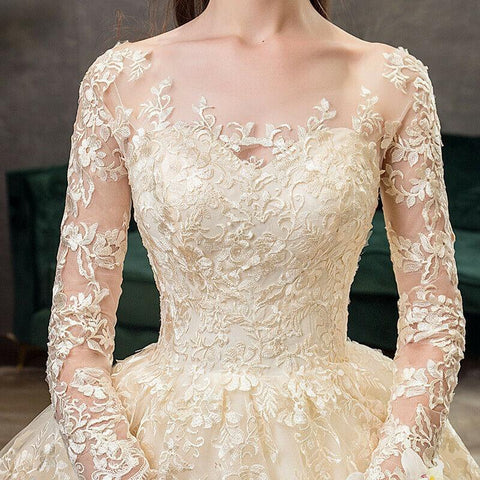Long Sleeve Champagne Lace Wedding Dress with Long Train - DressMaid Store
