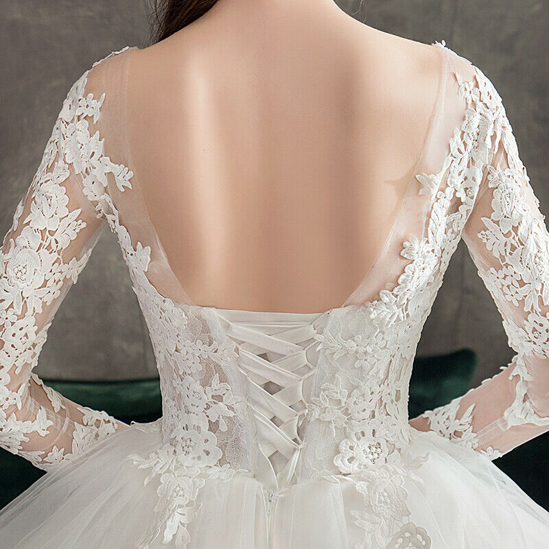 Vintage Lace Long Sleeve O Neck Princess Long Tail Ball Wedding Gown - DressMaid Store