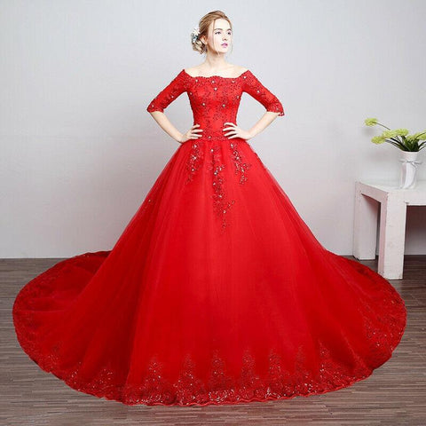 Red Long Sleeve Long Tail Bride Wedding Dress
