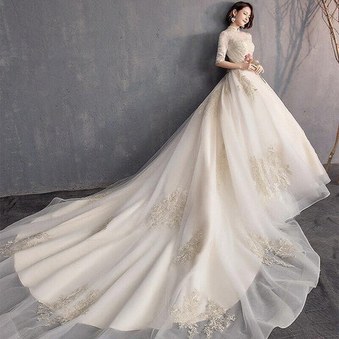 High Neck Half Sleeve Light Champagne Lace Wedding Gown