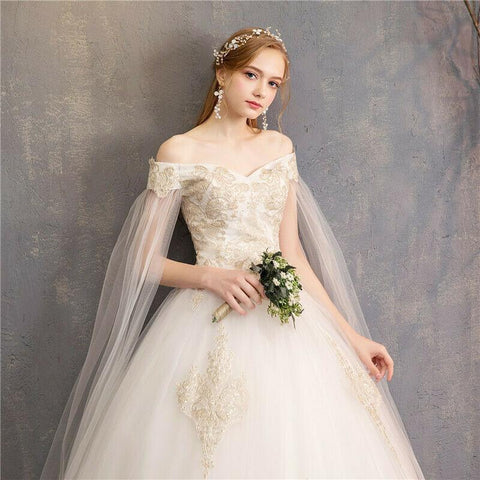 Ball Lace Crystals White Wedding Dress with Cape Sleeve