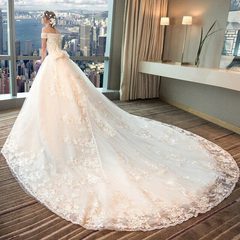 Lace Strapless Beaded Royal Train Princess Wedding Dress