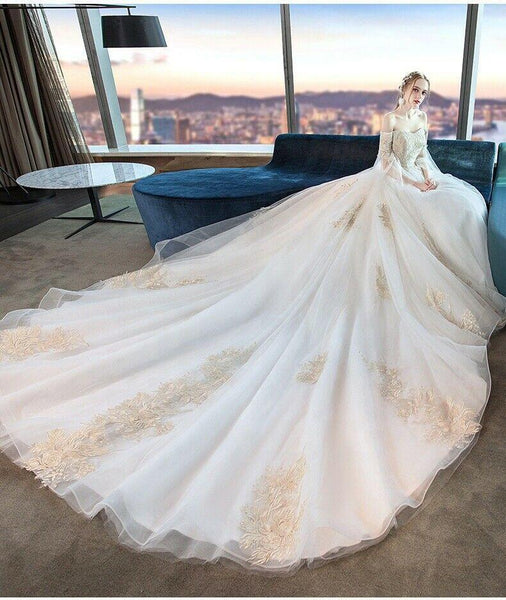 Luxury off Shoulder Embroidered Lace Tube Bride Long Tail Wedding Dress - DressMaid Store