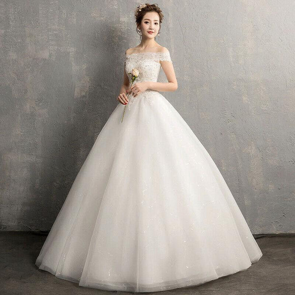 Korean Beaded Lace Applique Wedding Dress