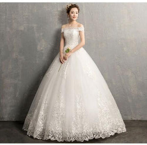 New Lace Floor Length Flat Shoulder lvory Wedding Gown Plus Size Dress - DressMaid Store