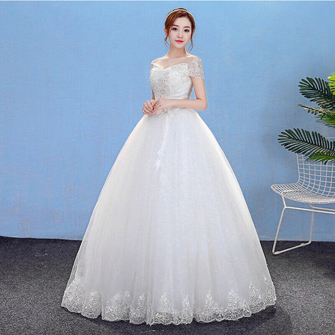 Simple Off Shoulder Sequined Lace Flower Floor Length Wedding Gown - DressMaid Store