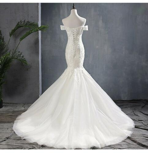 Off the Shoulder Mermaid Wedding Dress Plus Size Fish Tail Bride Wedding Gown - DressMaid Store