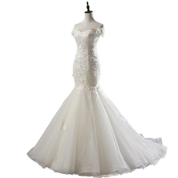 New Style 3D Flower Lace Fish Tail Wedding Dress Ball Gown - DressMaid Store