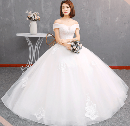Flat Shoulder Beaded Lace Floor Length Wedding Dress