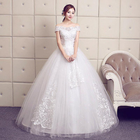 Plus Size Off Shoulder lvory Wedding Dress Bridal Gown - DressMaid Store