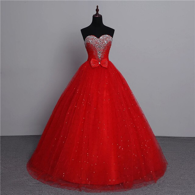 Classic Vintage Lace Red Wedding Dresses With Crystal Bow