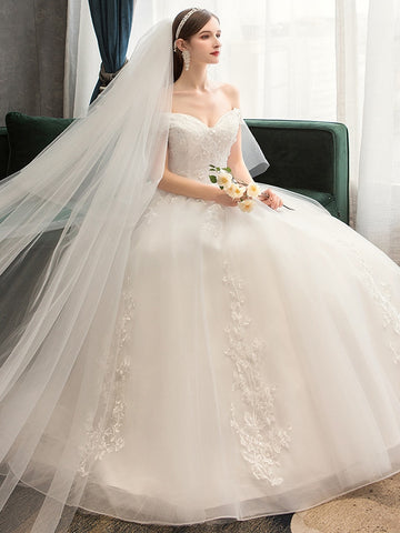 Lace Flowers Peals Simple Elegant Wedding Dress