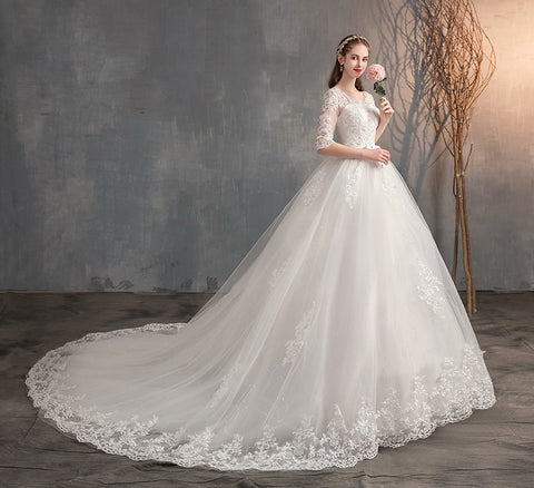 Embroidery Bridal Gown Elegant Wedding Dresses