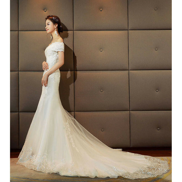 White Lace Wedding Dress Bridal Gown Mermaid With Sequins - DressMaid Store